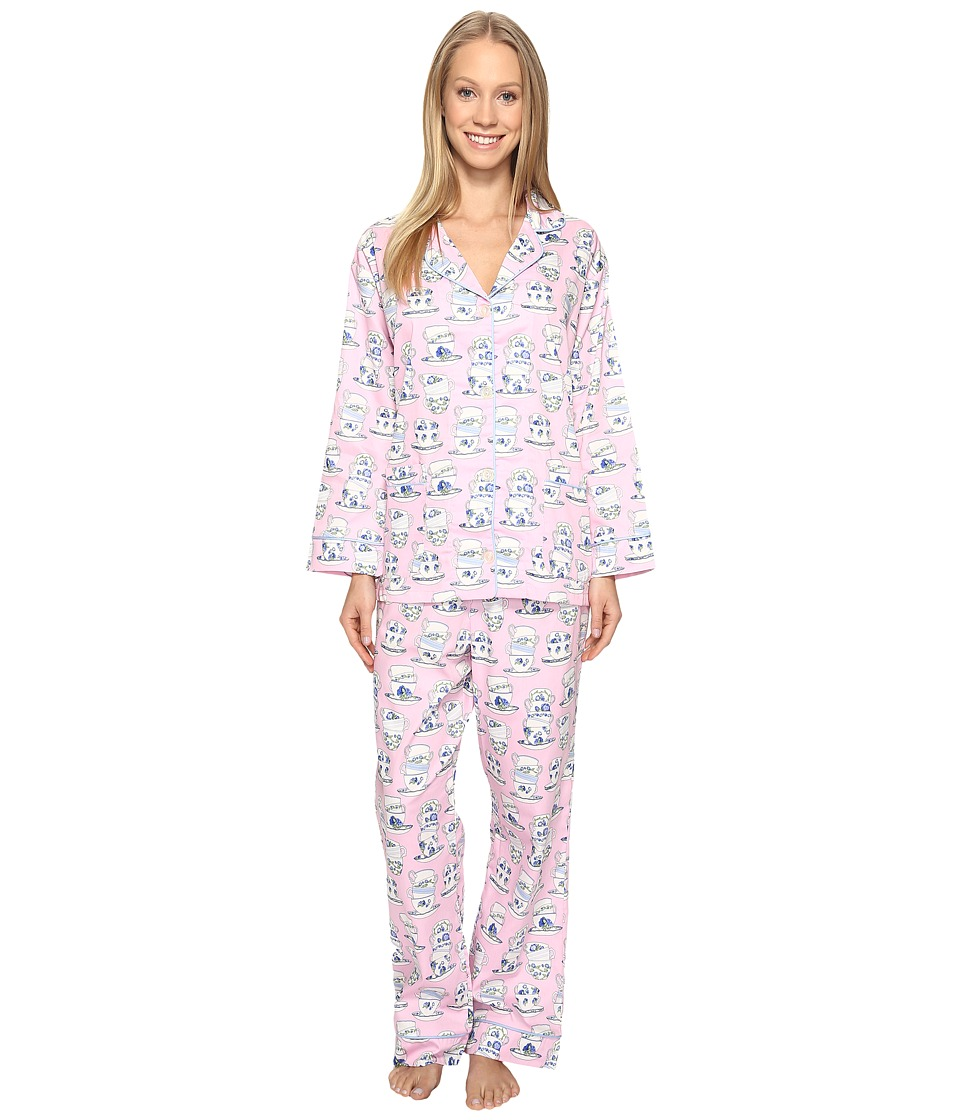 BedHead - Long Sleeve Front Pocket Pajama Set (Rose Cuppa Tea) Women's Pajama Sets