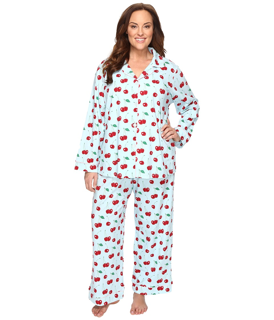 BedHead - Plus Size Long Sleeve Classic Pajama Set (Cherry Hearts) Women's Pajama Sets