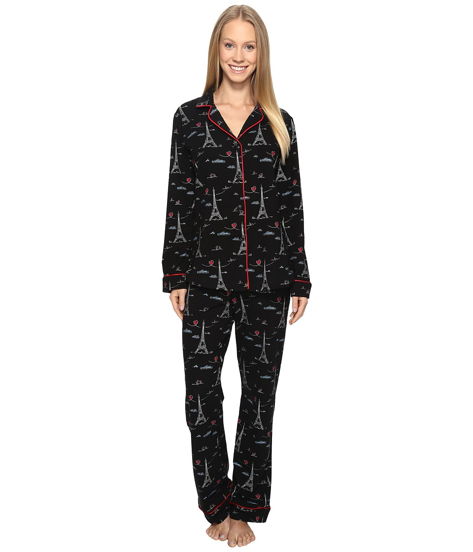 BedHead - Long Sleeve Classic PJ Set (Sketched Eiffel) Women's Pajama Sets