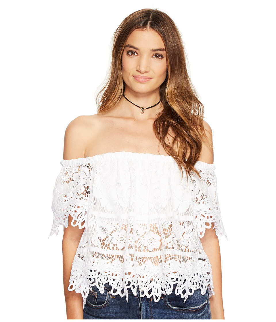 Free People - Sweet Dreams Lace Crop Top (White) Women's Clothing