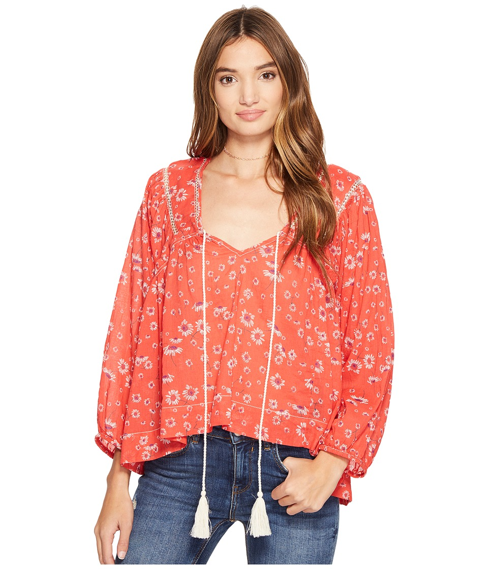 Free People - Never A Dull Moment Blouse (Red) Women's Clothing