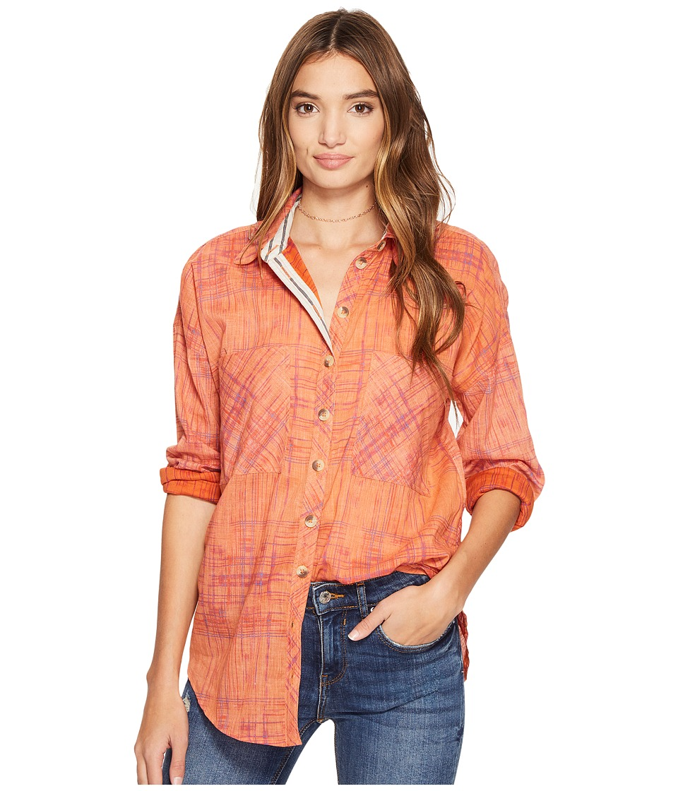 Free People - Shore Vibes Button Down Top (Coral) Women's Clothing