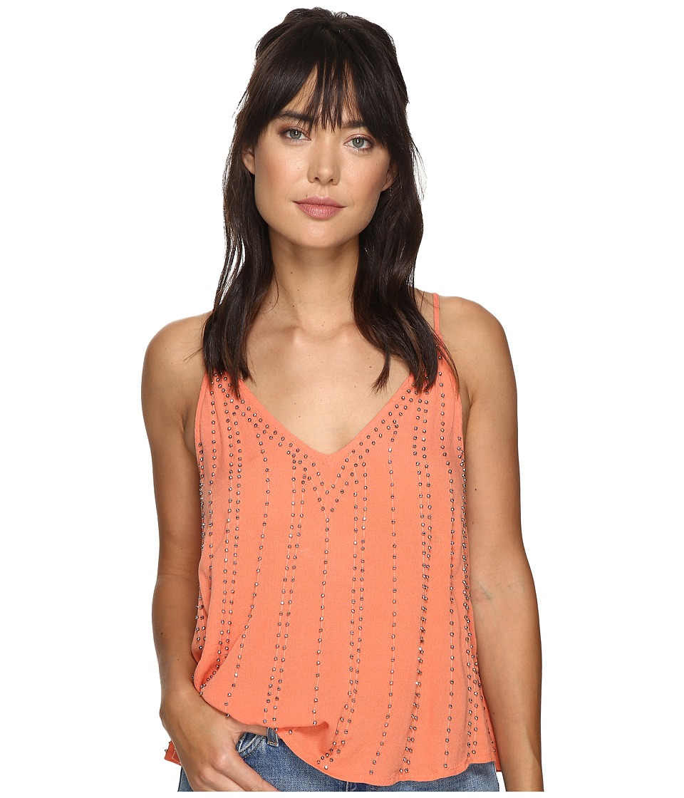 Free People - BB Embellished Cami Top (Coral) Women's Clothing