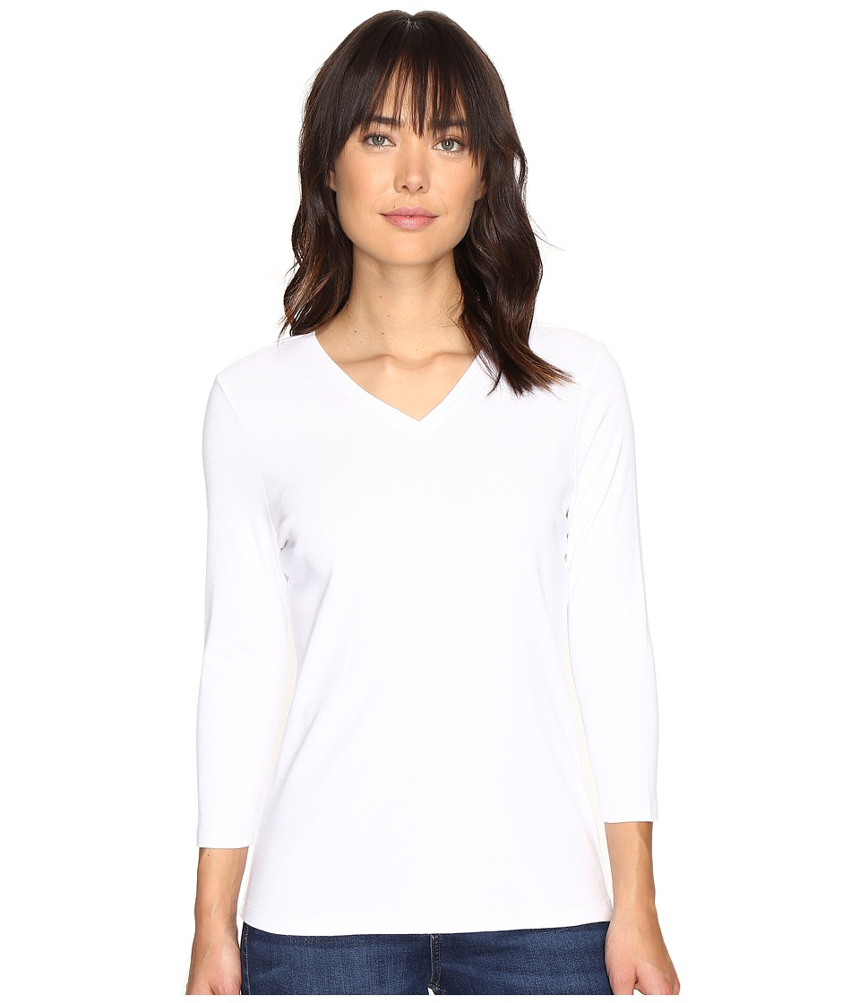 Pendleton - 3/4 Sleeve Rib Tee (White) Women's T Shirt
