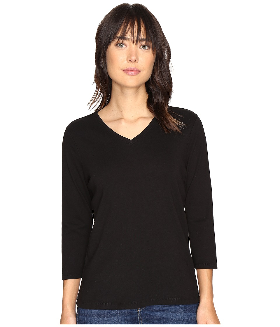 Pendleton - 3/4 Sleeve Rib Tee (Black) Women's T Shirt