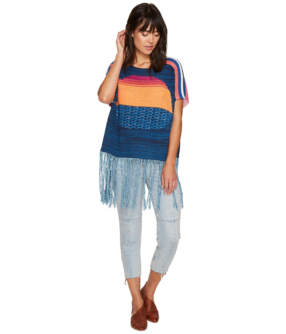 Free People - Sunset Fringe Sweater (Blue Combo) Women's Sweater