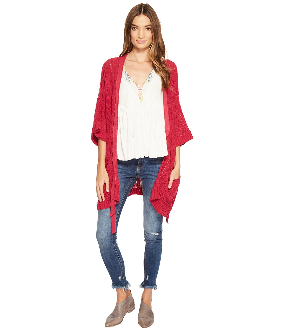 Free People - Beach House Brunch Cardi (Raspberry) Women's Sweater