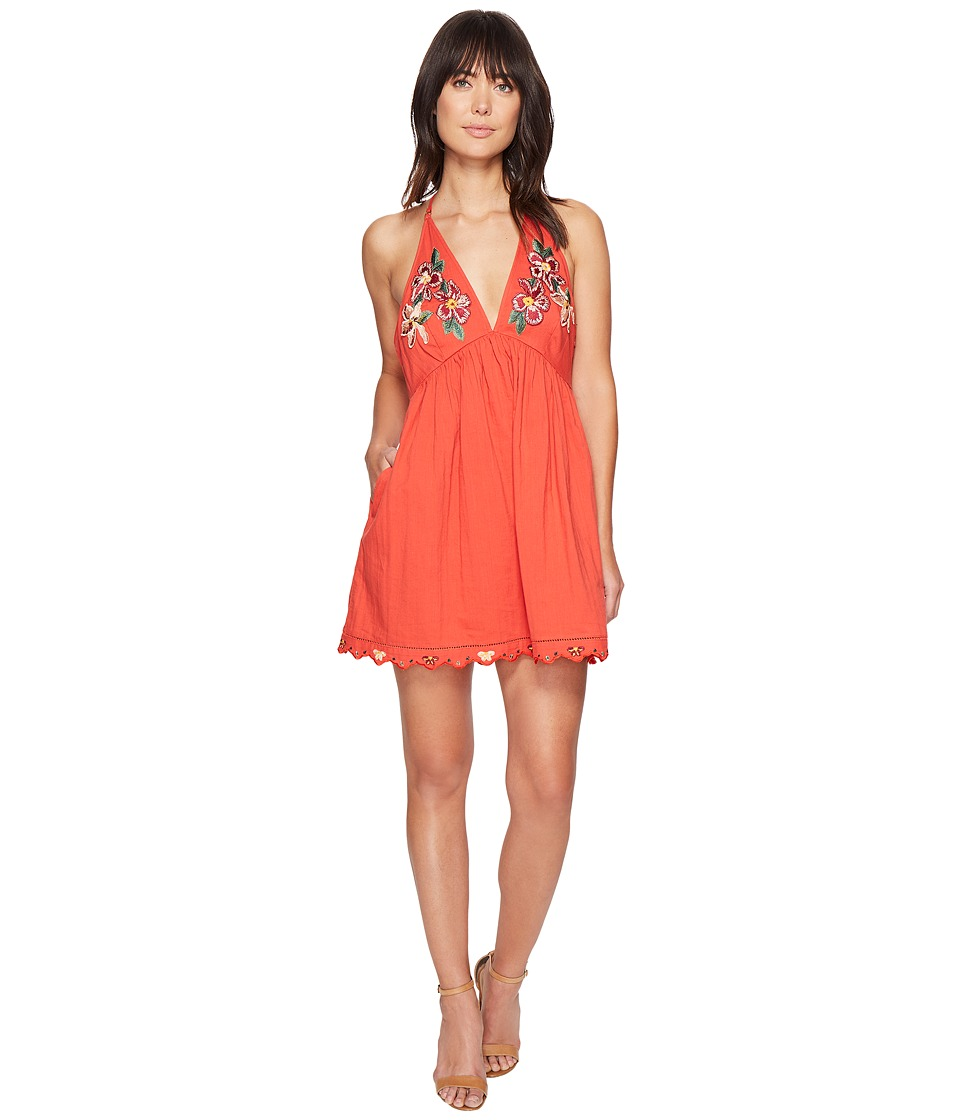 Free People - Love and Flowers Dress (Coral) Women's Dress