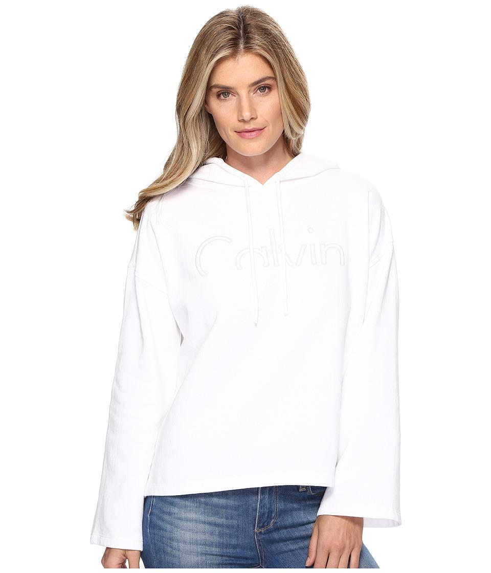 Calvin Klein Jeans - Cropped Logo Hoodie (Snow White) Women's Sweatshirt