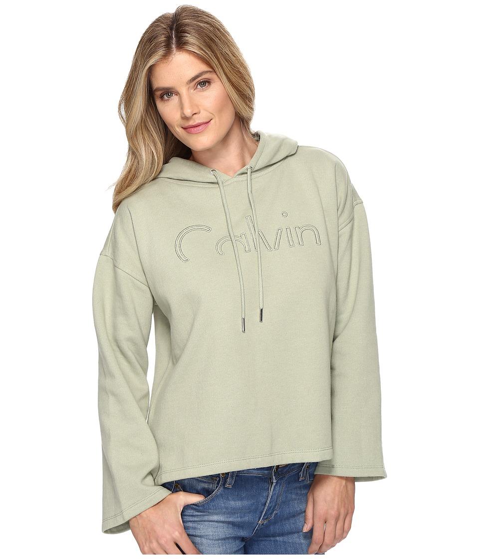 Calvin Klein Jeans - Cropped Logo Hoodie (Sage) Women's Sweatshirt