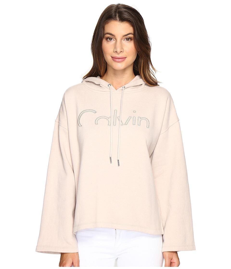 Calvin Klein Jeans - Cropped Logo Hoodie (Rose Dust) Women's Sweatshirt
