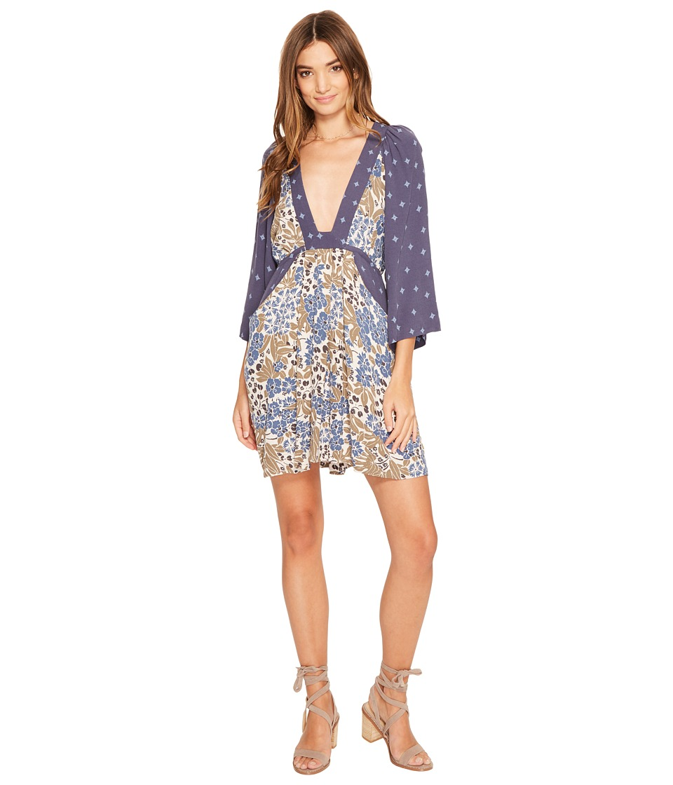 Free People - Talulla Printed Mini Dress (Blue Combo) Women's Dress
