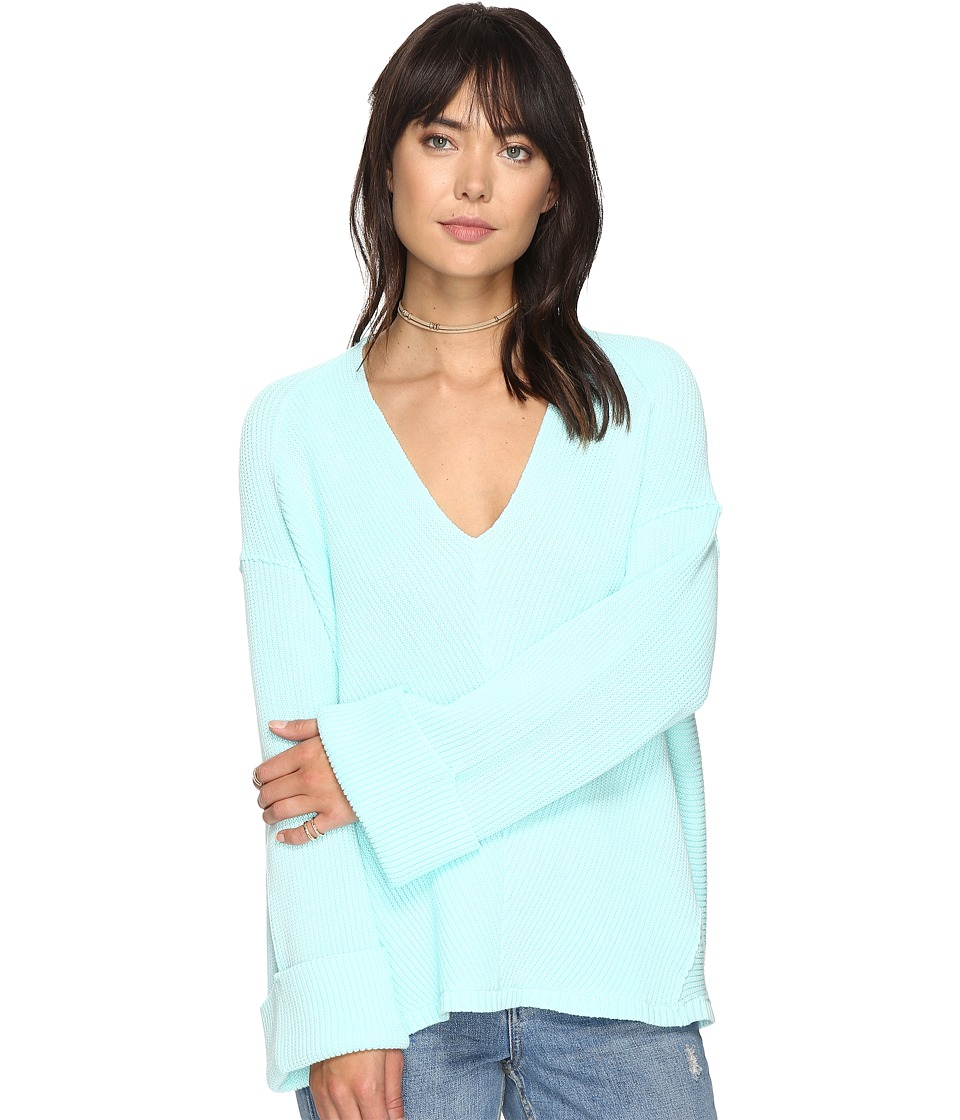 Free People - La Brea V-Neck Sweater (Mint) Women's Sweater