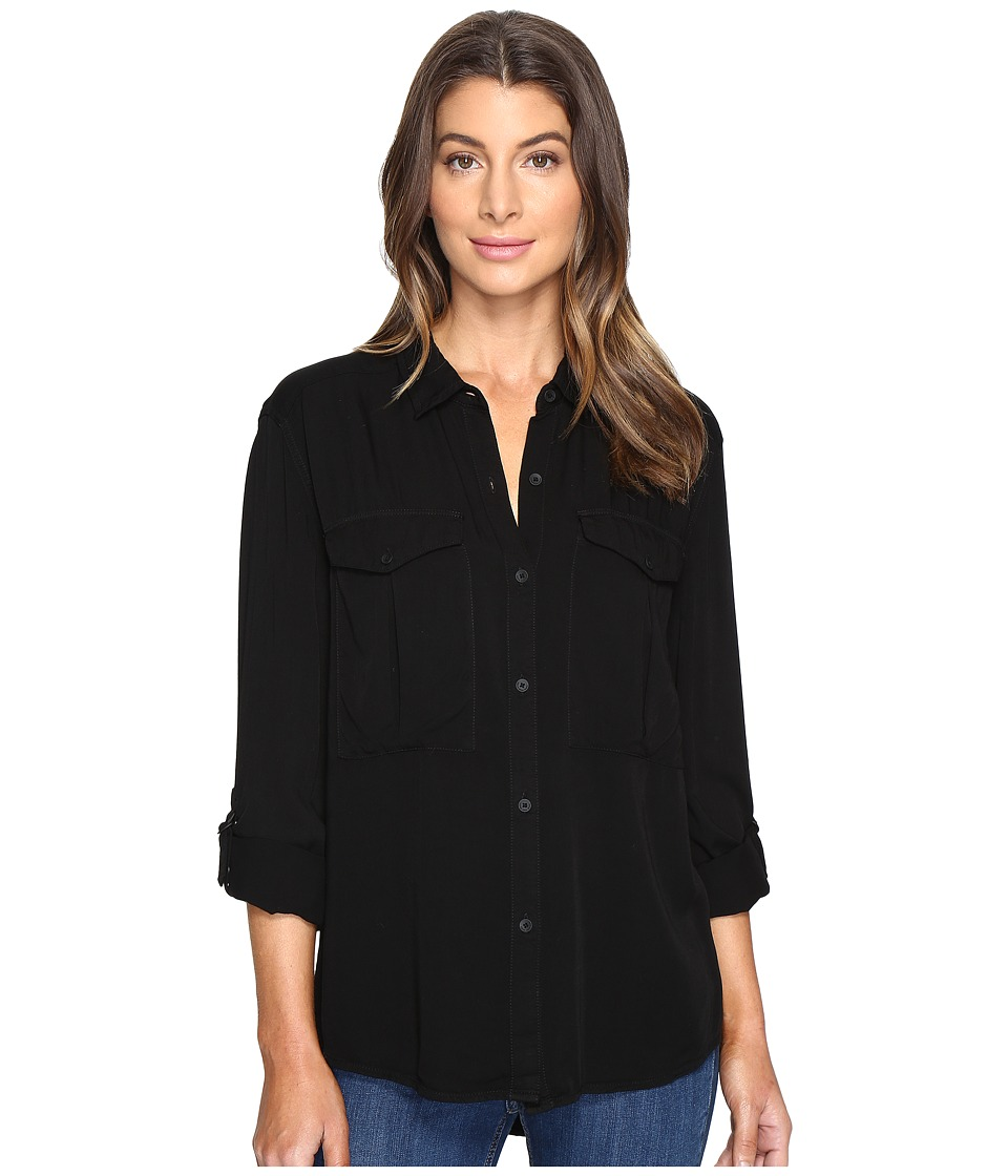 Calvin Klein Jeans - Garment Dye Utility D-Ring Tab Long Sleeve Shirt (Black) Women's Long Sleeve Button Up