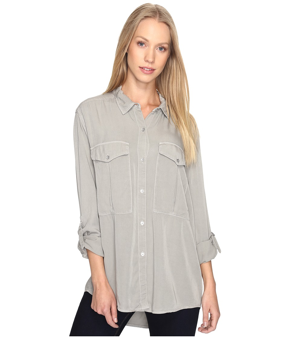 Calvin Klein Jeans - Garment Dye Utility D-Ring Tab Long Sleeve Shirt (Tarragon Green) Women's Long Sleeve Button Up