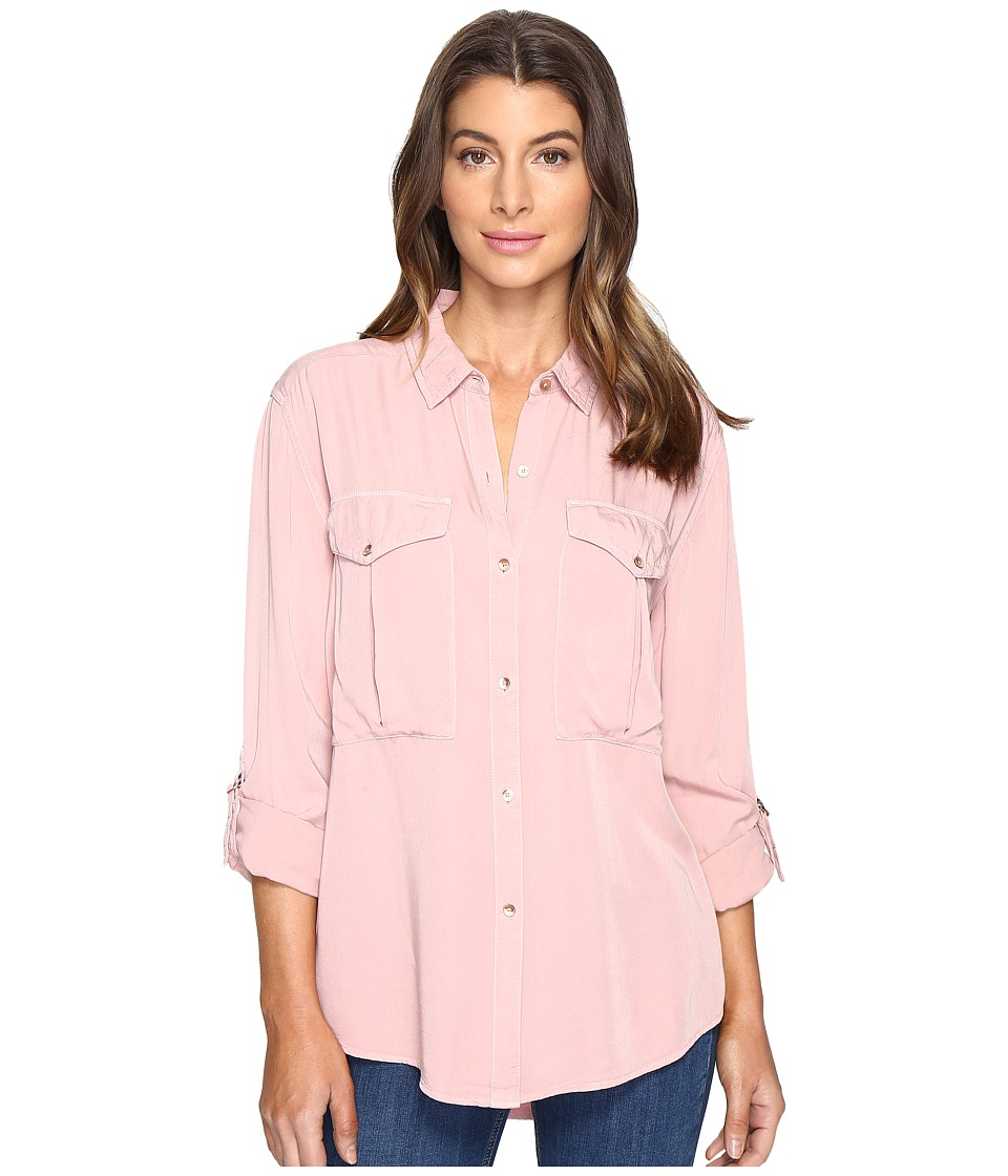 Calvin Klein Jeans - Garment Dye Utility D-Ring Tab Long Sleeve Shirt (Misty Rose) Women's Long Sleeve Button Up