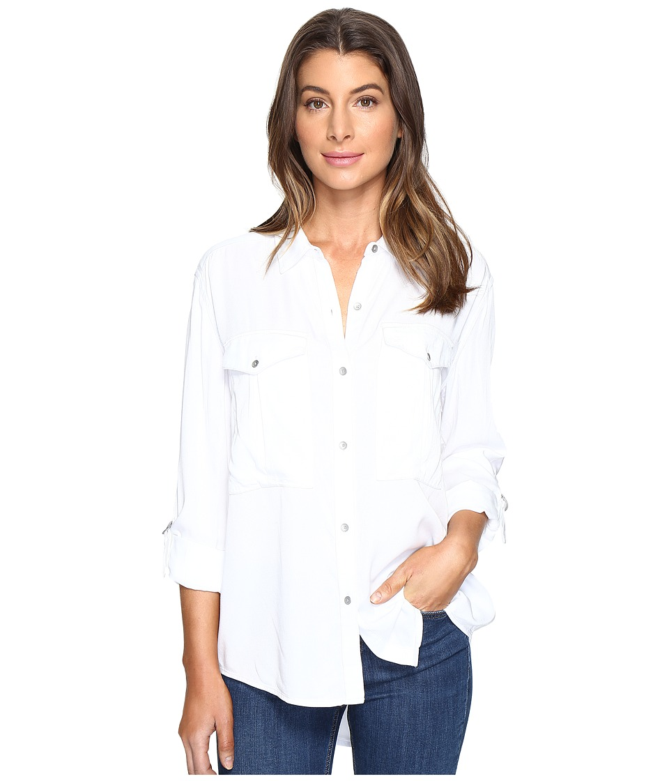 Calvin Klein Jeans - Garment Dye Utility D-Ring Tab Long Sleeve Shirt (White Wash) Women's Long Sleeve Button Up