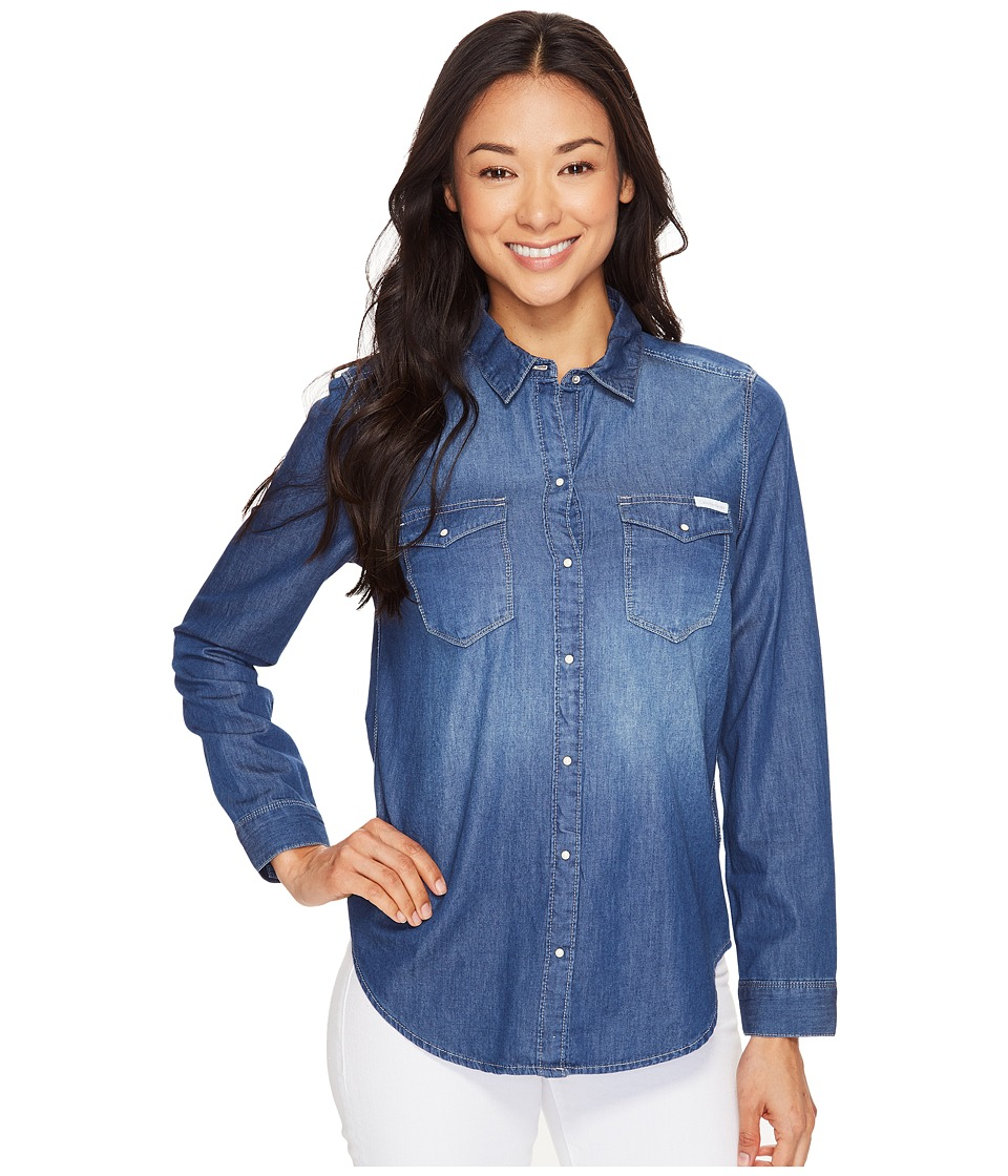 Calvin Klein Jeans - Basic Denim Shirt (Brady Mid) Women's Long Sleeve Button Up