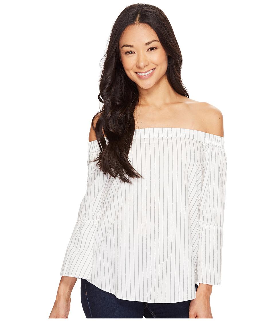Calvin Klein Jeans - Printed Stripe Off Shoulder Top (Marshmallow) Women's Clothing