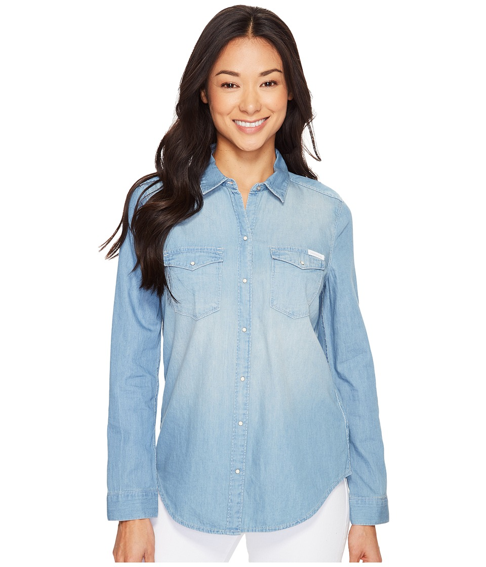 Calvin Klein Jeans - Basic Denim Shirt (Parker Mid) Women's Long Sleeve Button Up