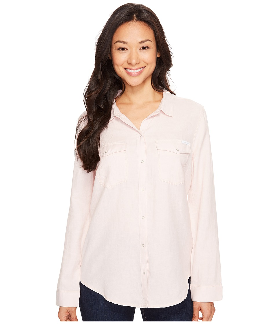 Calvin Klein Jeans - Basic Denim Shirt (Muted Rose) Women's Long Sleeve Button Up