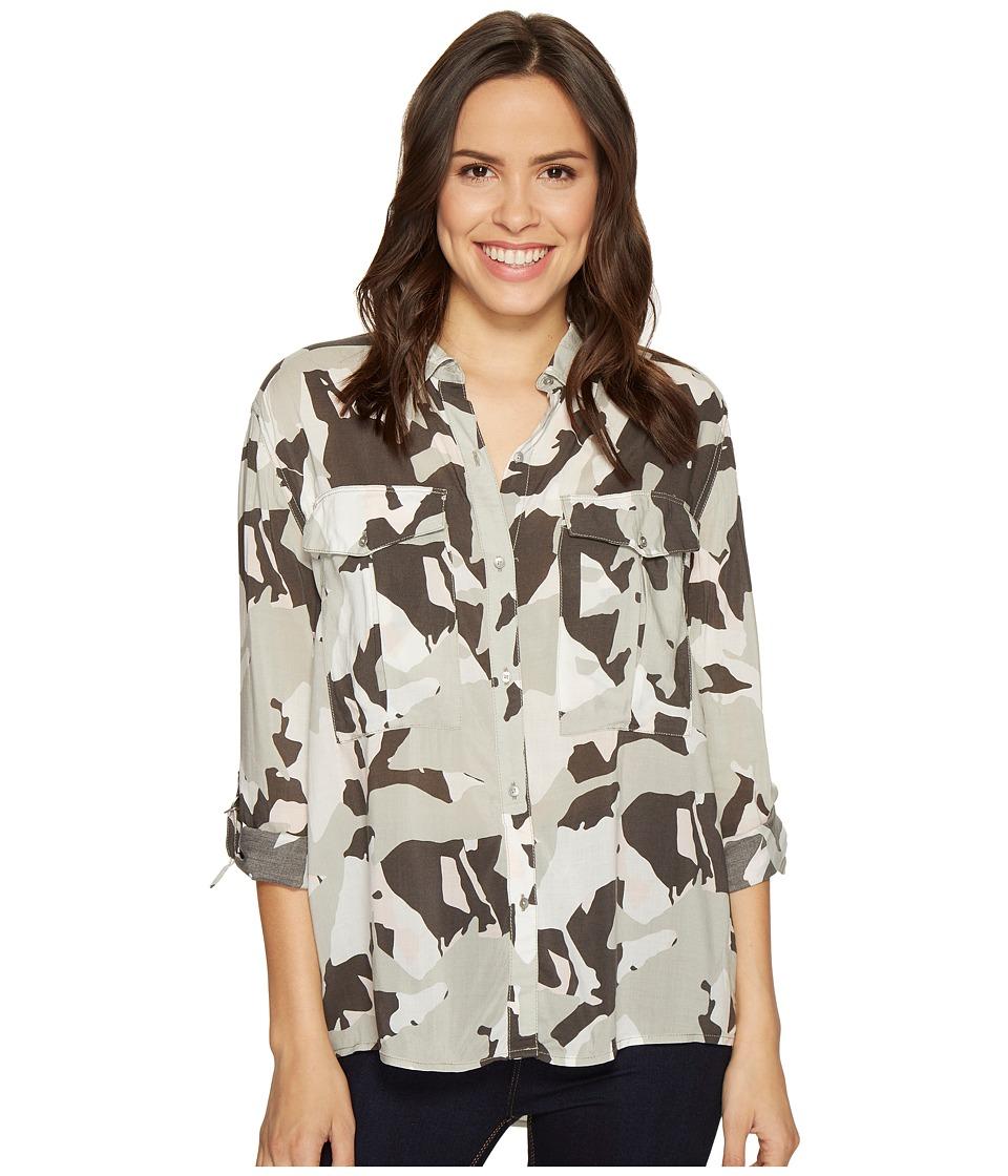 Calvin Klein Jeans - Camo Printed Utility Shirt (Sage) Women's Clothing