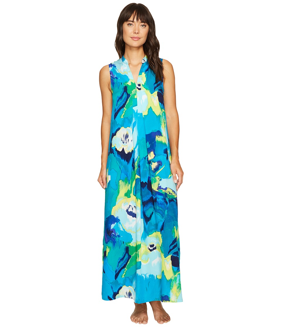 N by Natori - Blooming Mural Maxi Gown (Royal Blue) Women's Pajama