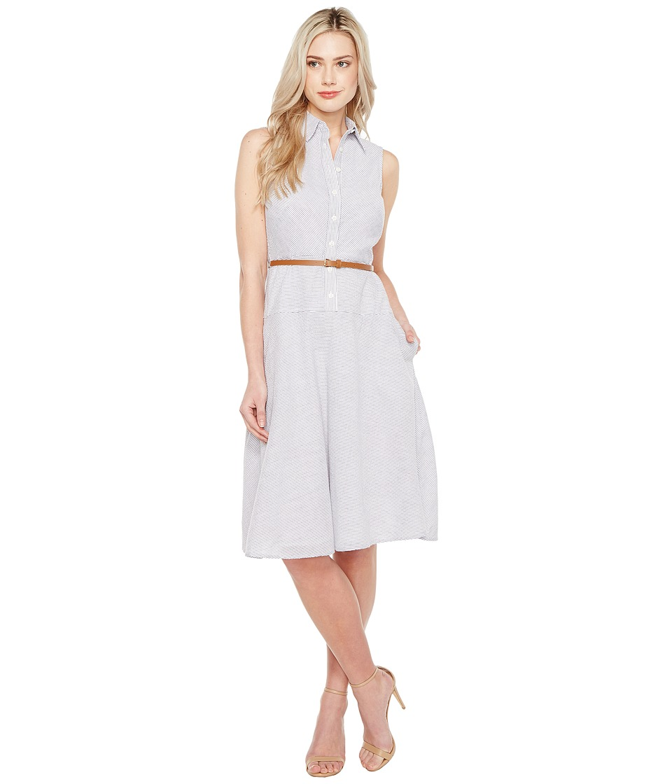 Donna Morgan - Sleeveless Shirtdress with Drop Waist Flare Skirt and Belt (Oxford Blue/White) Women's Dress