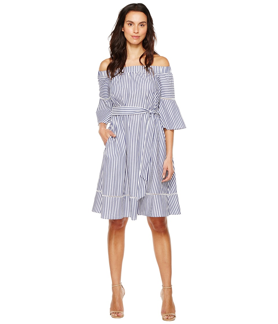 Donna Morgan - Off Shoulder Belted Midi Dress (Marine Navy/White) Women's Dress