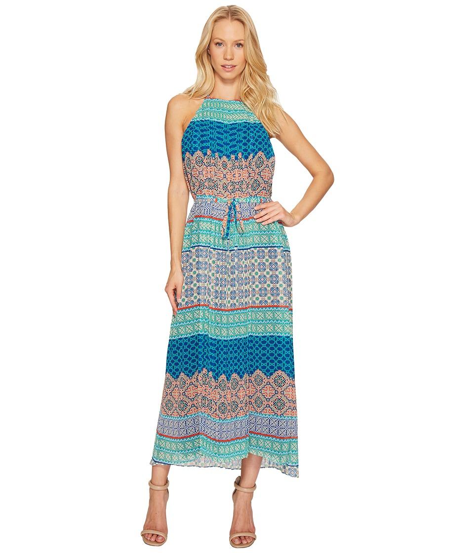 Donna Morgan - Printed Chiffon Maxi (Celestial Turquoise Multi) Women's Dress