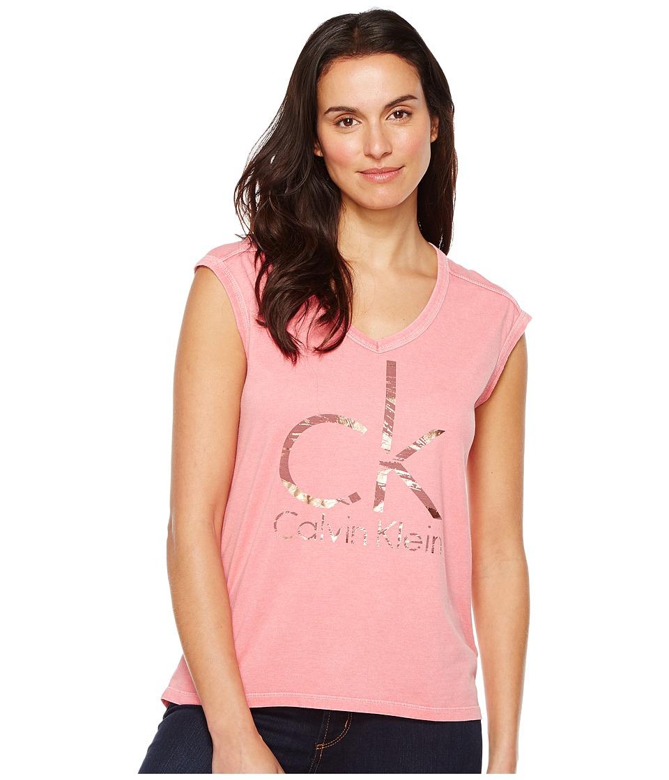 Calvin Klein Jeans - Brushstroke Foil Logo Tee (Rapture Rose) Women's T Shirt