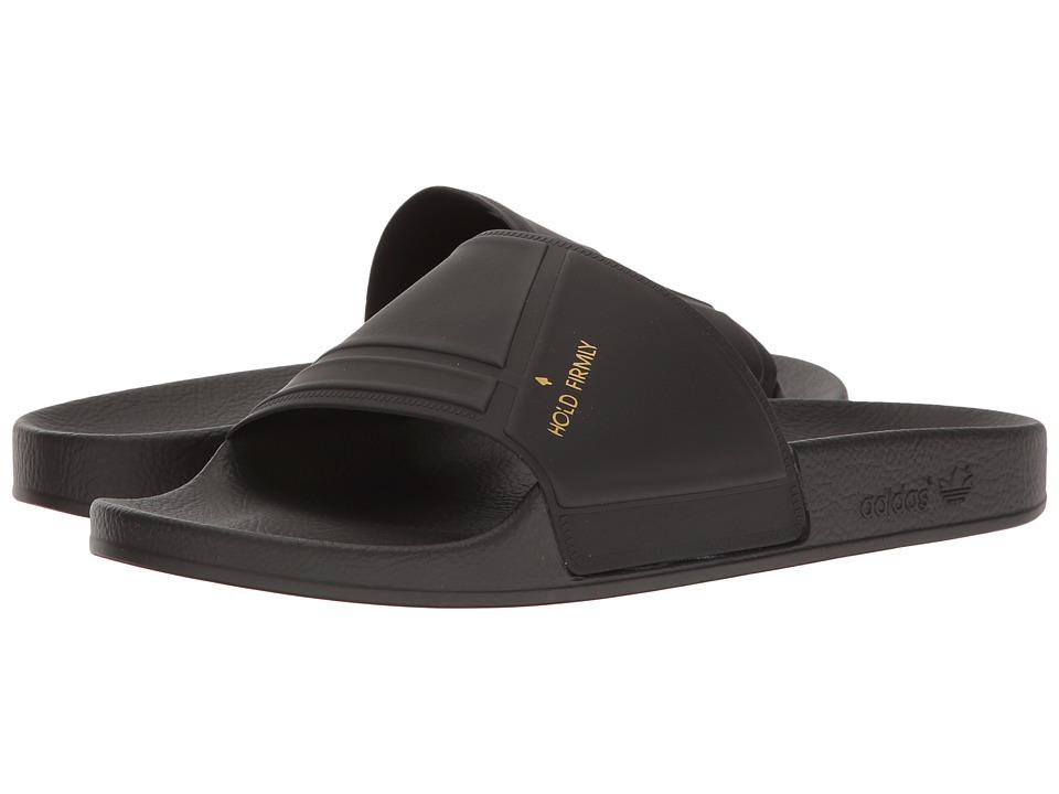 adidas by Raf Simons - Raf Simons Bunny Adilette (Core Black/Core Black/Pyrite) Slide Shoes