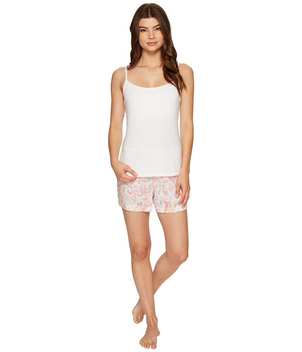 LAUREN Ralph Lauren - Shelf Bra Cami Woven Boxer PJ Set (White Top/Watercolor) Women's Pajama Sets