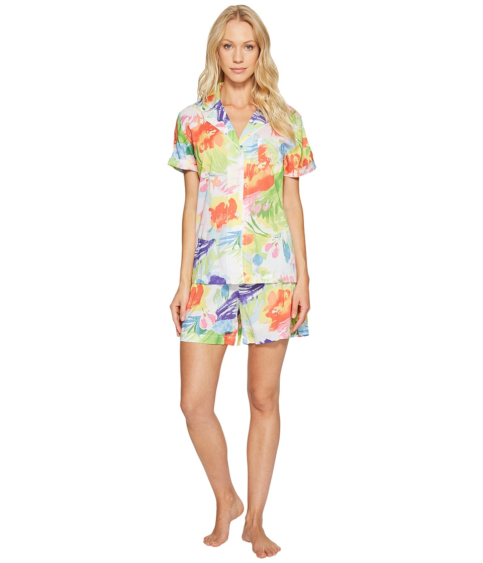 LAUREN Ralph Lauren - Short Sleeve Notch Collar Boxer PJ (Multi Floral) Women's Pajama Sets
