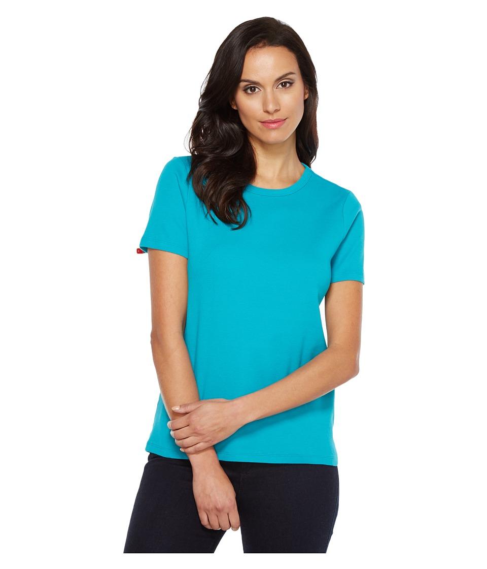 Pendleton - S/S Rib Tee (Tile Blue) Women's T Shirt