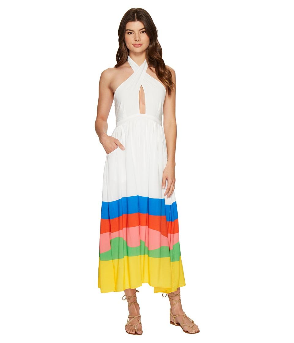 Mara Hoffman Beach Ball Halter Midi Dress Rainbow Multi Swimwear
