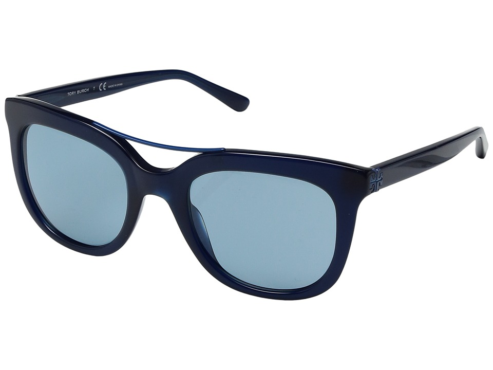 Tory Burch - 0TY7105 53mm (Navy/Blue Double Bridge/Solid Light Blue) Fashion Sunglasses