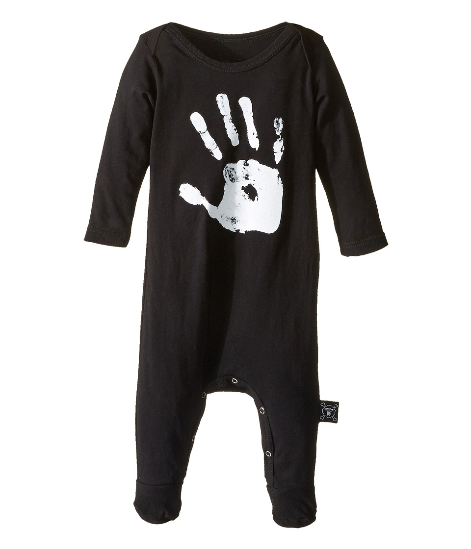 Nununu - Hand Print Overall Footie (Infant) (Black) Kid's Jumpsuit & Rompers One Piece