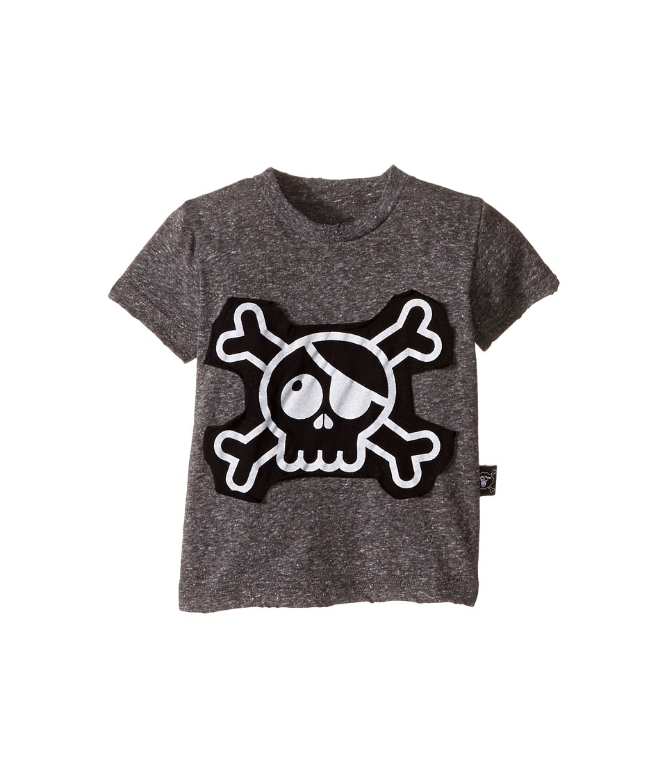Nununu - Skull Patch T-Shirt (Infant/Toddler/Little Kids) (Charcoal) Kid's T Shirt