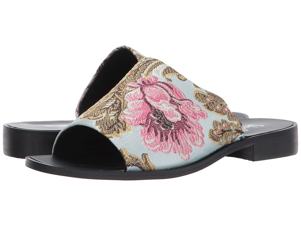 Shellys London - Enya Floral Slide (Blue Floral) Women's Slide Shoes