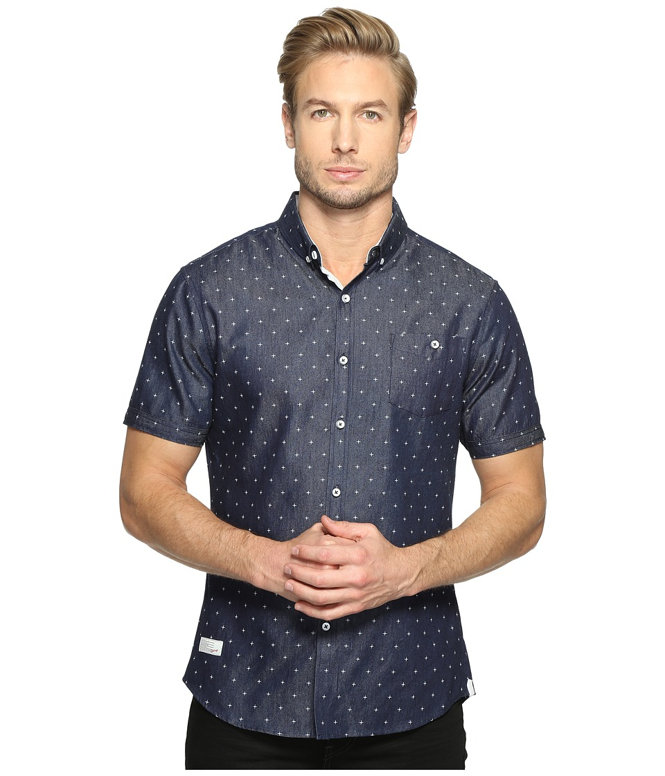7 Diamonds Gleam of Light Short Sleeve Shirt (Navy) Men