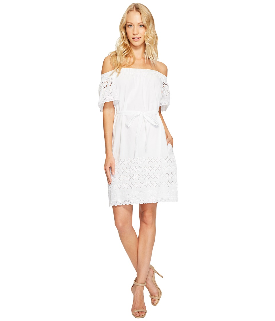 Donna Morgan - Off Shoulder Dress with Eyelet Border (White) Women's Dress