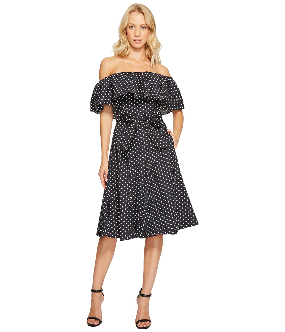 Donna Morgan - Off Shoulder Midi Dress w/ Self Tie Belt (Marine Navy) Women's Dress
