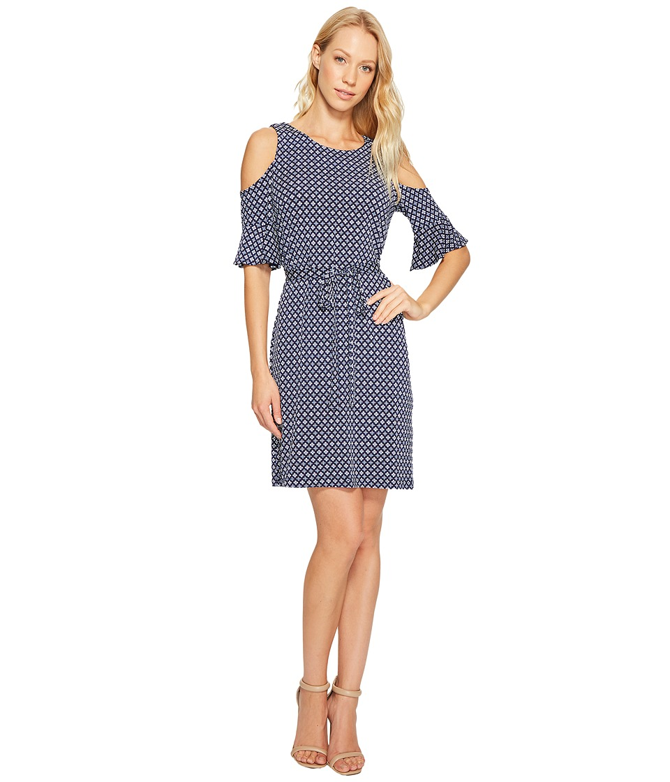 Donna Morgan - 3/4 Bell Sleeve Cold Shoulder A-Line Dress (Marine Navy Multi) Women's Dress