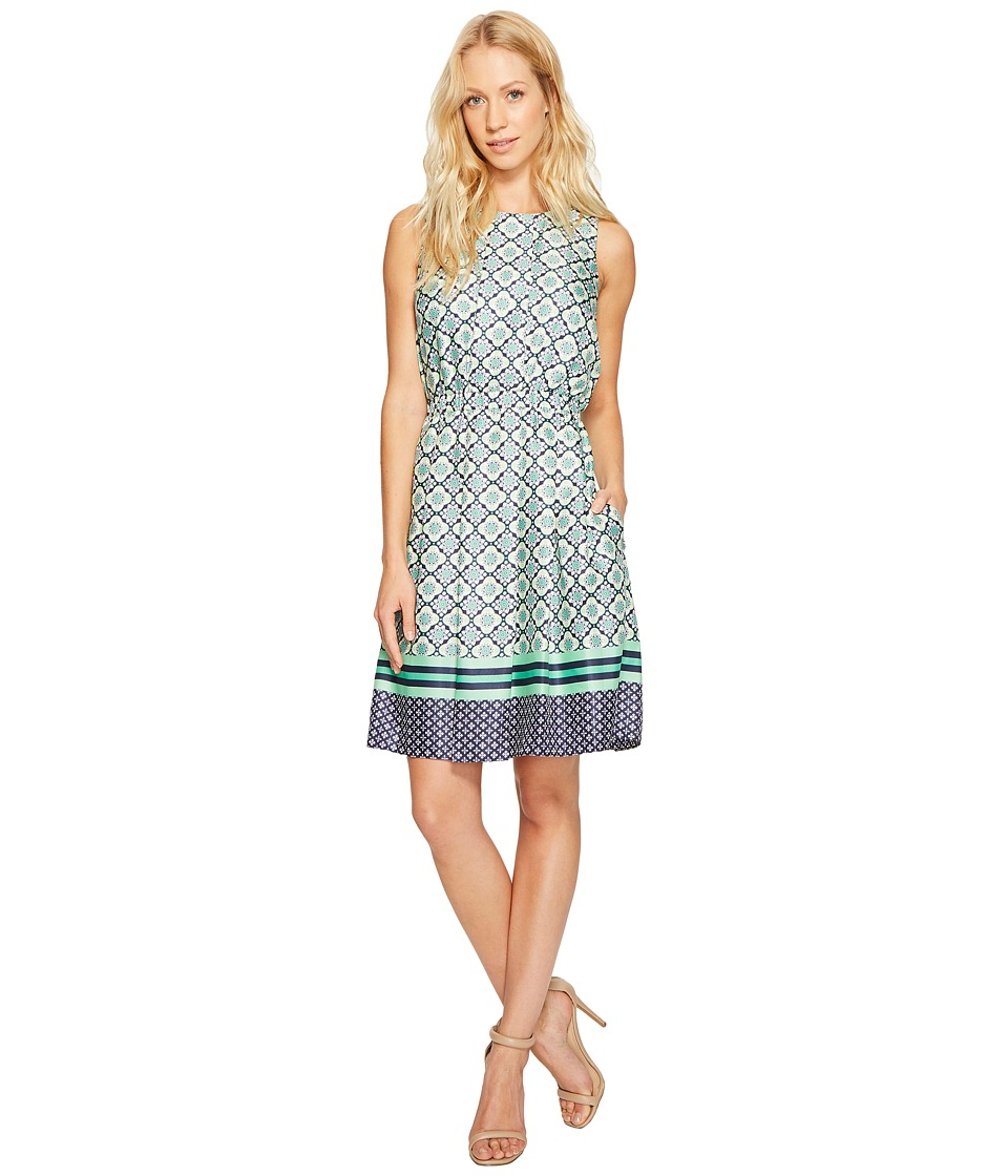 Donna Morgan - Pleated Fit and Flare Dress (Marine Navy/Pistachio Multi) Women's Dress