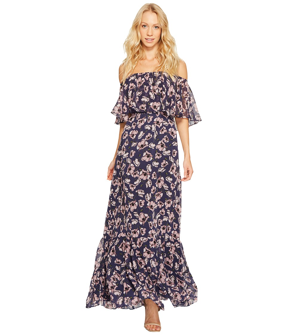 Donna Morgan - Off Shoulder Chiffon Maxi (Marine Navy Multi) Women's Dress