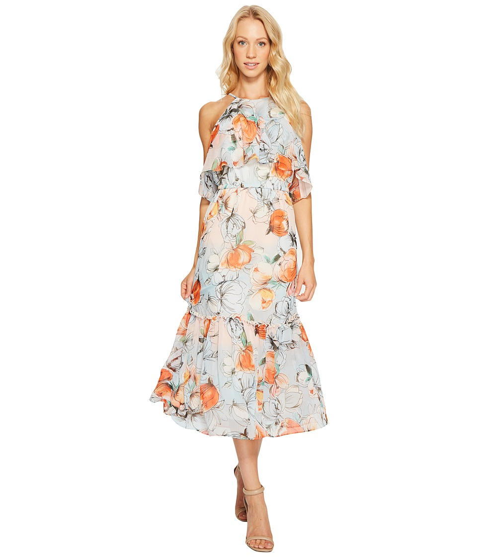 Donna Morgan - Halter Neck Ruffle Midi Dress (Apricot/Multi) Women's Dress