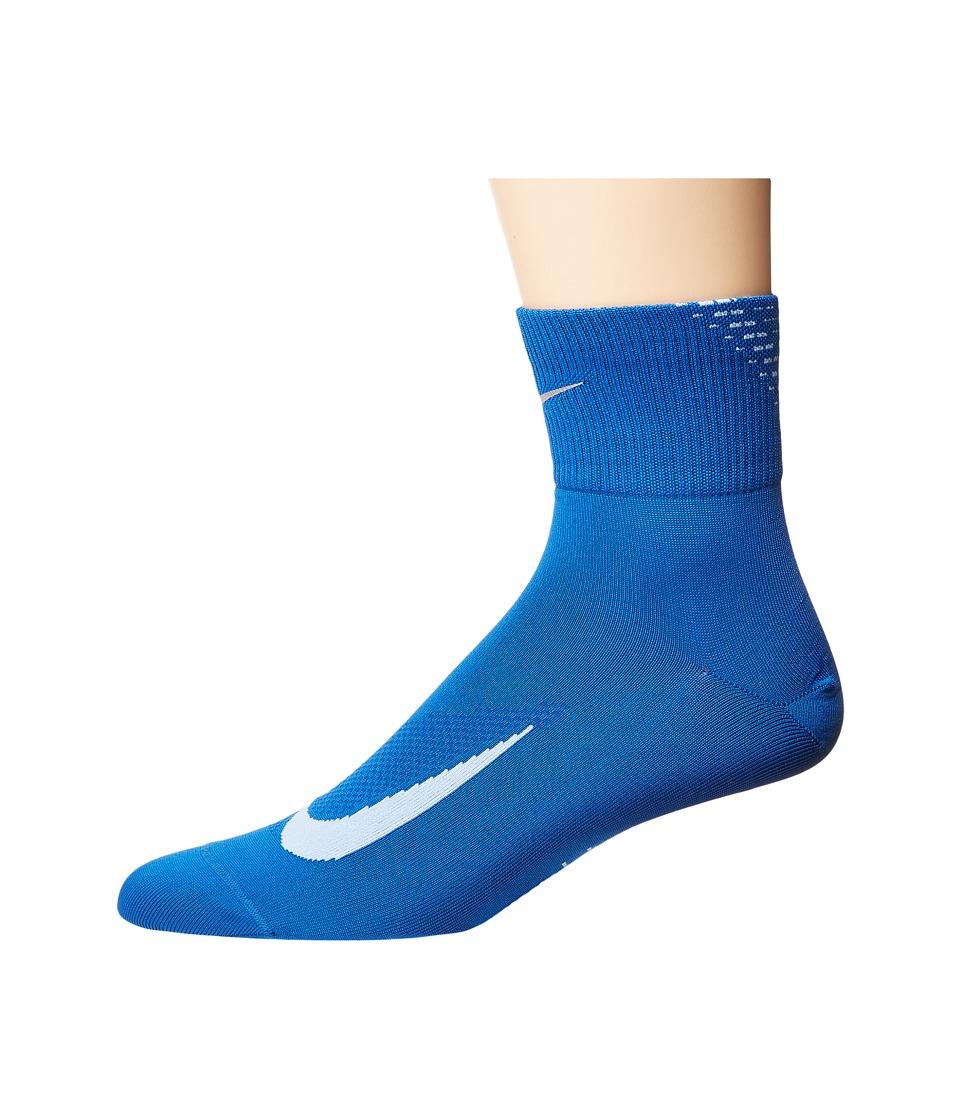 Nike Elite Run Lightweight 2.0 Quarter (Blue Jay/Hydrogen Blue) Quarter Length Socks Shoes