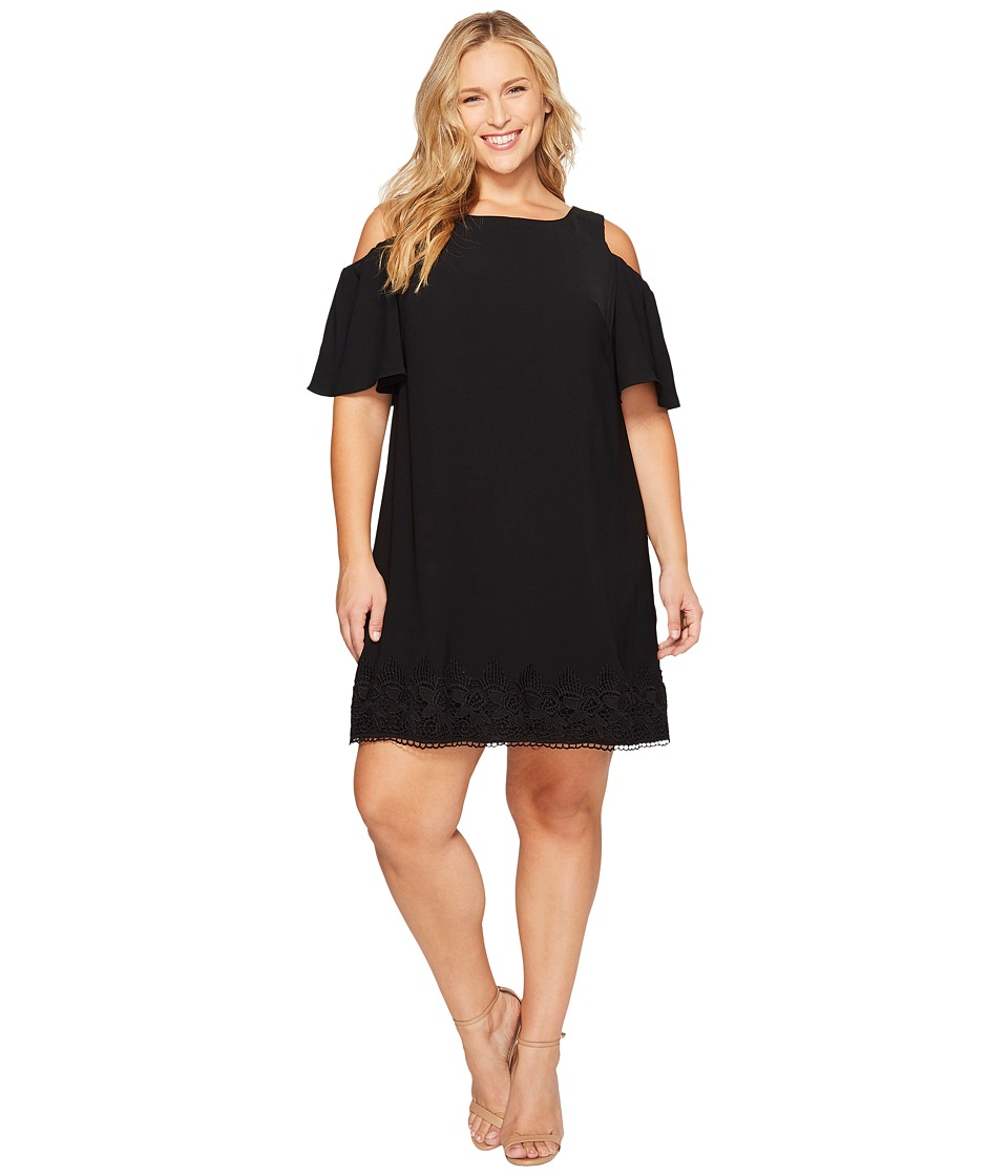 Adrianna Papell - Plus Size Gauzy Crepe Cold Shoulder Shift Dress (Black) Women's Dress