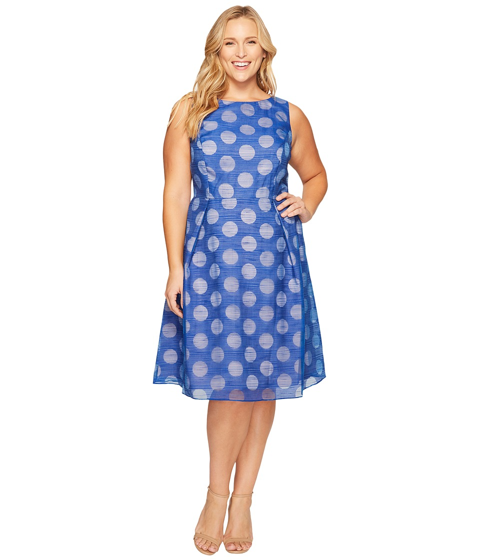 Adrianna Papell Plus Size Pop Dot Burnout Sleeveless Fit and Flare (Cobalt/Blush) Women